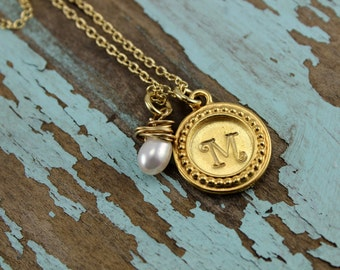 Will NOT ship until 7/9/18Gold filled Fine Pewter Monogrammed Necklace with Freshwater Pearl Personalized Necklace, Custom Unique Gift