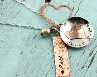 Will NOT ship until 7/9/18Sweet 16 Custom Sterling Silver and Copper Necklace | Handstamped Personalized Jewelry | Mother Daughter Necklace