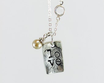 LOVE stamped necklace on Organic Pewter | Love Necklace | Custom | Pearl |Love Jewelry | Mother's Day Jewelry | Best Friend Necklace