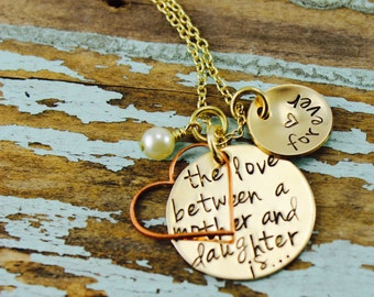 "Will NOT ship until 7/9/18Mother's Day Stamped Custom, ""The Love Between a Mother And Daughter is Forever,"" Nu-Gold Necklace"