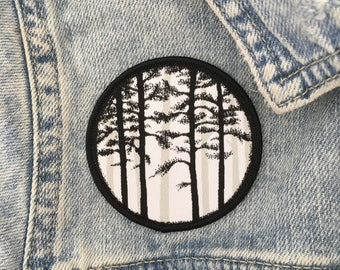 Misty Forest Patch - Iron On Woven Patch - Forest - Wood - Tree - Pine - Badge - Sew On Patch