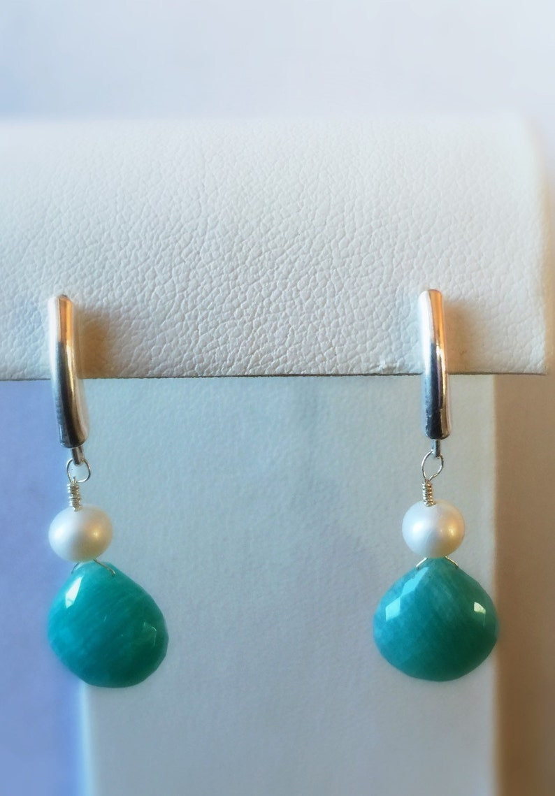 Gorgeous Amazonite and Freshwater Pearl Earrings