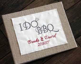 I DO BBQ Personalized Wedding Album - Photo / Scrapbook - Rustic Burlap - Engagement, Bridal Shower, Anniversary Gift - Natural Cover