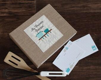 Personalized Recipe Binder/Book/Holder/Cookbook -Cards & Dividers - Retro Kitchen -Aqua/Teal/Blue- Wedding, Hostess, Housewarming Gift