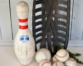 Bowling Pin, Vintage Plastic Coated AMF Bowling Ball Pin, Game Room Decor, Sports Decor, Athletic Gift, Autograph Trophy,