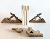 Vintage Corbel Crush Swoon over these White Chippy Wood Accents for Bookshelves, Four Architecture Salvage Pieces, Farmhouse Bookends