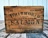 Seattle Alaska Pink Salmon Wooden Box, Advertising Crate, Stenciled Box, Vintage Wood, Whitworth Fisheries Washington