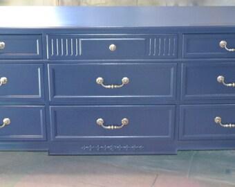 SOLD Dresser Navy Blue/ Midnight Blue. 9 Drawer Beauty