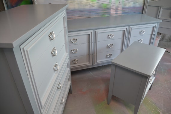 Bedroom Set 3 Piece Gray On Gray Dixie Pewter   Etsy
