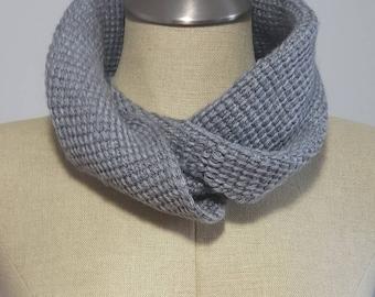 Tunisian crochet wool infinity scarf