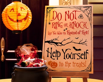 Halloween Poster for Barking Dog / Dogs - Do Not Knock or Ring Trick or Treat Door Sign (Hound / Hounds of Hell)
