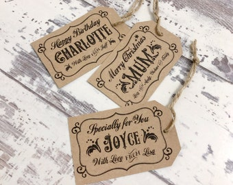 Personalised Gift Tags - Custom Gift Tags - Rustic Gift Tags - Kraft Tags - Handmade Gift Tags