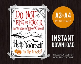 Halloween Poster for Sleeping Baby / Babies / Toddler/s - Do Not Knock or Ring Trick or Treat Door Sign (Imp / Imps of Chaos)