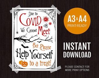 Halloween COVID Poster - Trick or Treat Door Sign