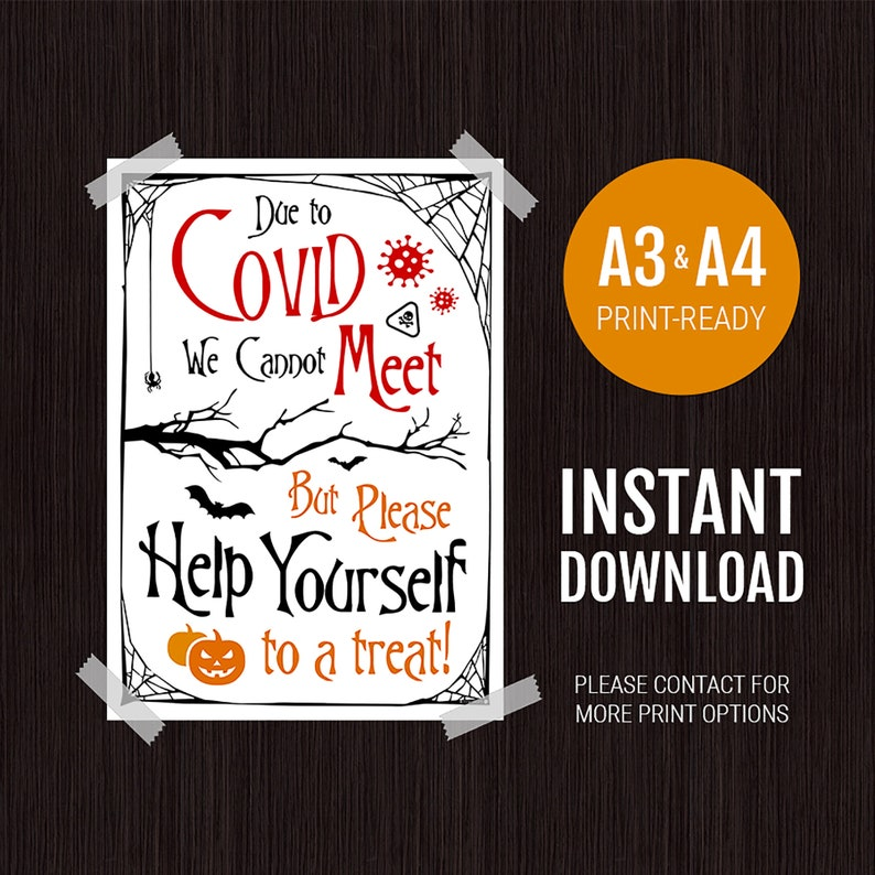 Halloween COVID Poster  Trick or Treat Door Sign image 0