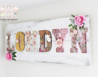 large shabby chic nursery sign shabby chic pallet sign shabby chic letters shabby chic nursery decor shabby chic decor floral letters