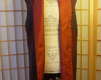 Japanese Kimono Silk Black/Dark Red Vest