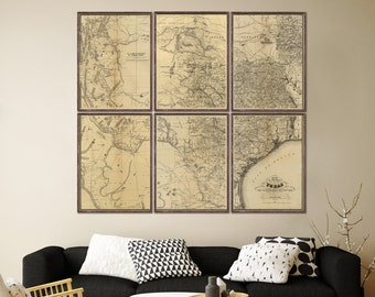 Texas Map Etsy - Vintage texas map framed