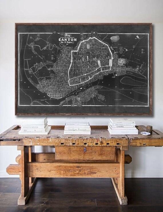 Vintage Mapa de Guangzhou Cantón China de 1860 Impresión Cartel Histórico De Regalo