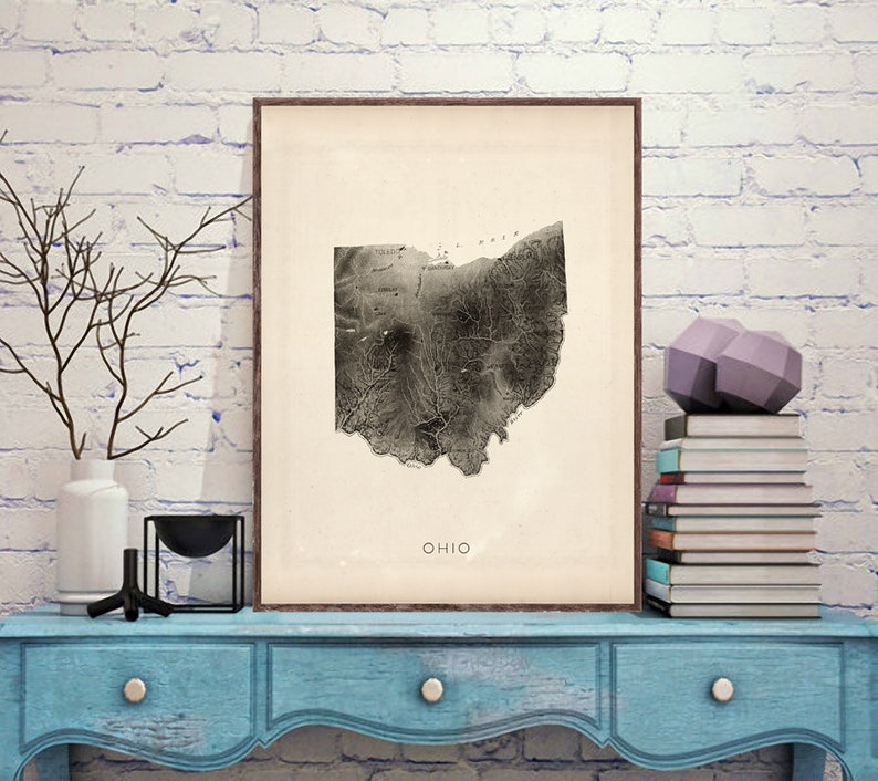 Ohio relief map reprint 6 largeXL sizes up to 40x30 and three color schemes Vintage Ohio map reprint