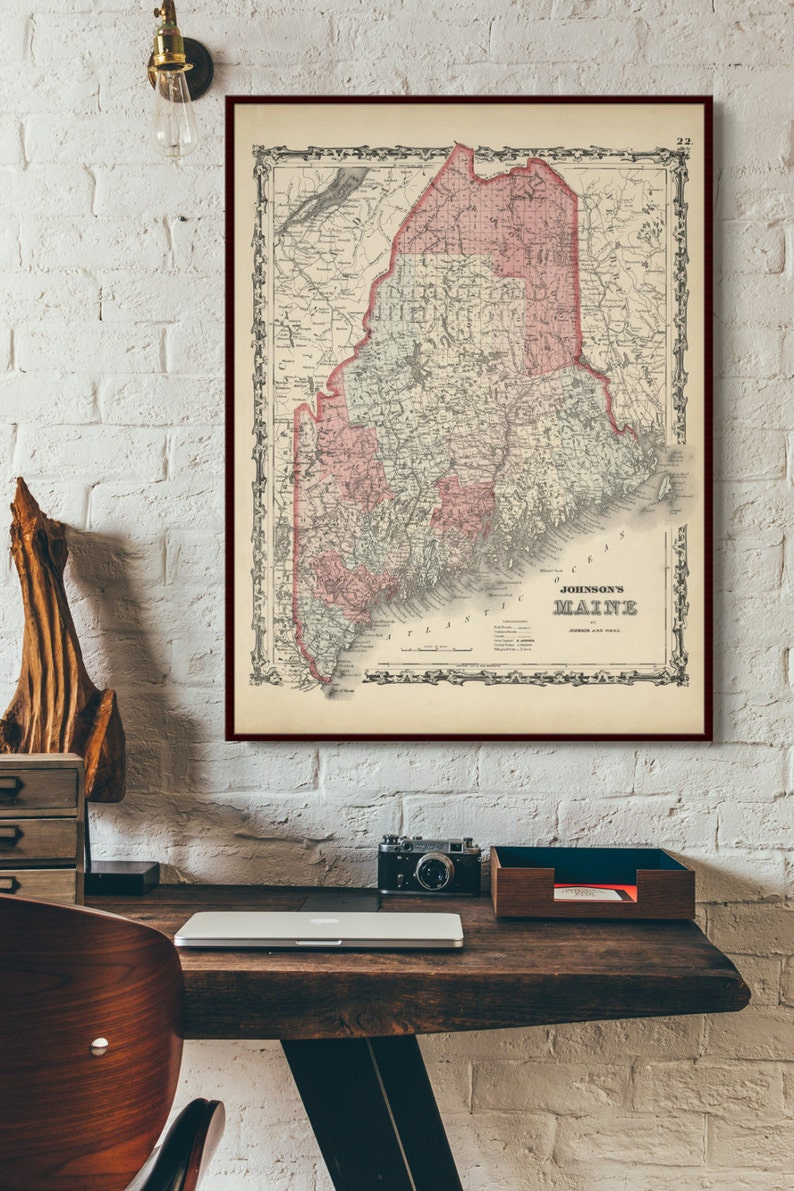 1862 Johnson's Maine map reprint Vintage Maine map Warmed aged