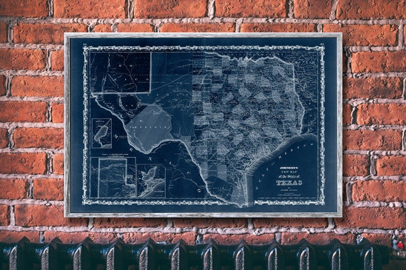 Vintage Johnson/'s Texas map reprint 1870 Map of Texas reprint 7 largeXL sizes up to 72x48 in 1 or 4 parts /& three color choices