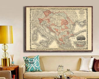 """1862 Johnson's Austria Turkey Greece map reprint - vintage southern European map 5 large/XL sizes up to 54"""" x 36"""" -in three color choices"""