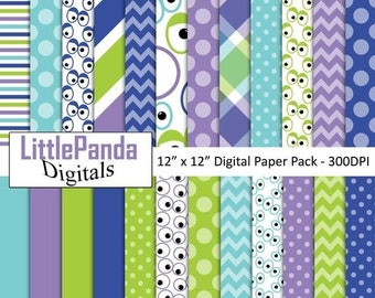 e547cb672b 70% OFF SALE Monsters digital paper, monsters scrapbook papers, commercial  use, monster party, googly eyes, crazy eyes, scrapbook paper D523