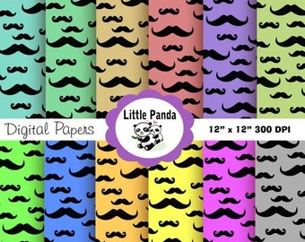 70% OFF SALE Mustache Digital Paper Pack, Commercial Use, Personal Use, 12 jpg files 12 x 12 - Instant Download - D11