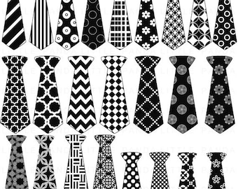 70% OFF SALE Black and White Necktie Clip Art - Personal and Commercial Use - Instant Download - C84
