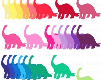70% OFF SALE Rainbow Dinosaur Clip Art - Instant Download - C103