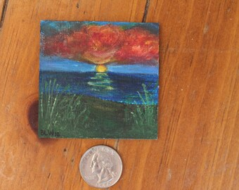Hand-Painted Vibrant Seaside Sunset Magnet