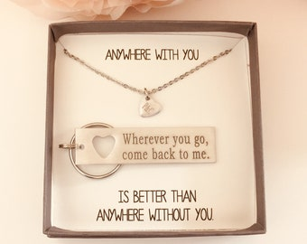wherever you go come back to me boyfriend gift couples jewelry going away gift for him college graduate high school grad for him