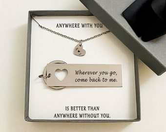 Boyfriend Gift, I love you, For Him, Gift for Him, Heart necklace, Husband Gift, Couples Jewelry, Silver Keychain, Couples Gifts, Rose 004