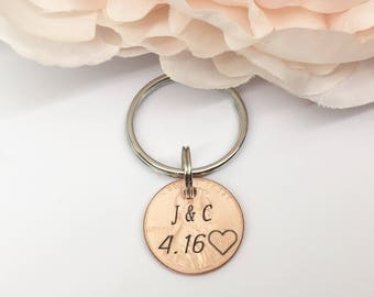 Lucky Penny Keychain, Custom Penny, Gift for him, Anniversary Gift, Personalized penny, 7 year anniversary, Father's Day gift