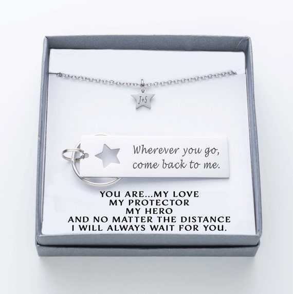Husband Gift Army Wherever you go Boyfriend Gift Delopment come back to me Personalized Keychain 009 Star Keychain Couples Jewelry