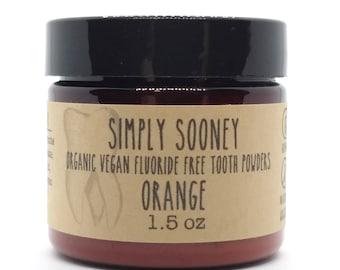 Organic Vegan Fluoride Free Tooth Powder Kid Safe Orange Formula 3 Month Supply