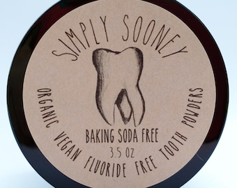 VALUE SIZE 6 Month Supply Baking Soda Free Organic Vegan Fluoride Free Remineralizing Tooth Powder