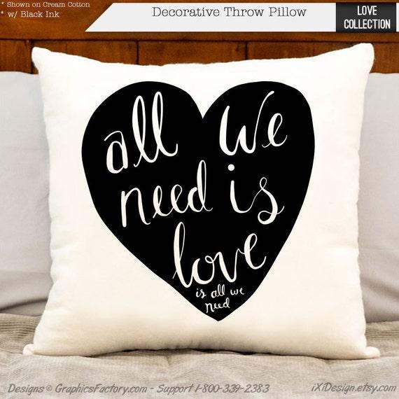 All We Need Is Love Decorative Throw Pillow Bedroom Decor Etsy Extraordinary Etsy Decorative Throw Pillows