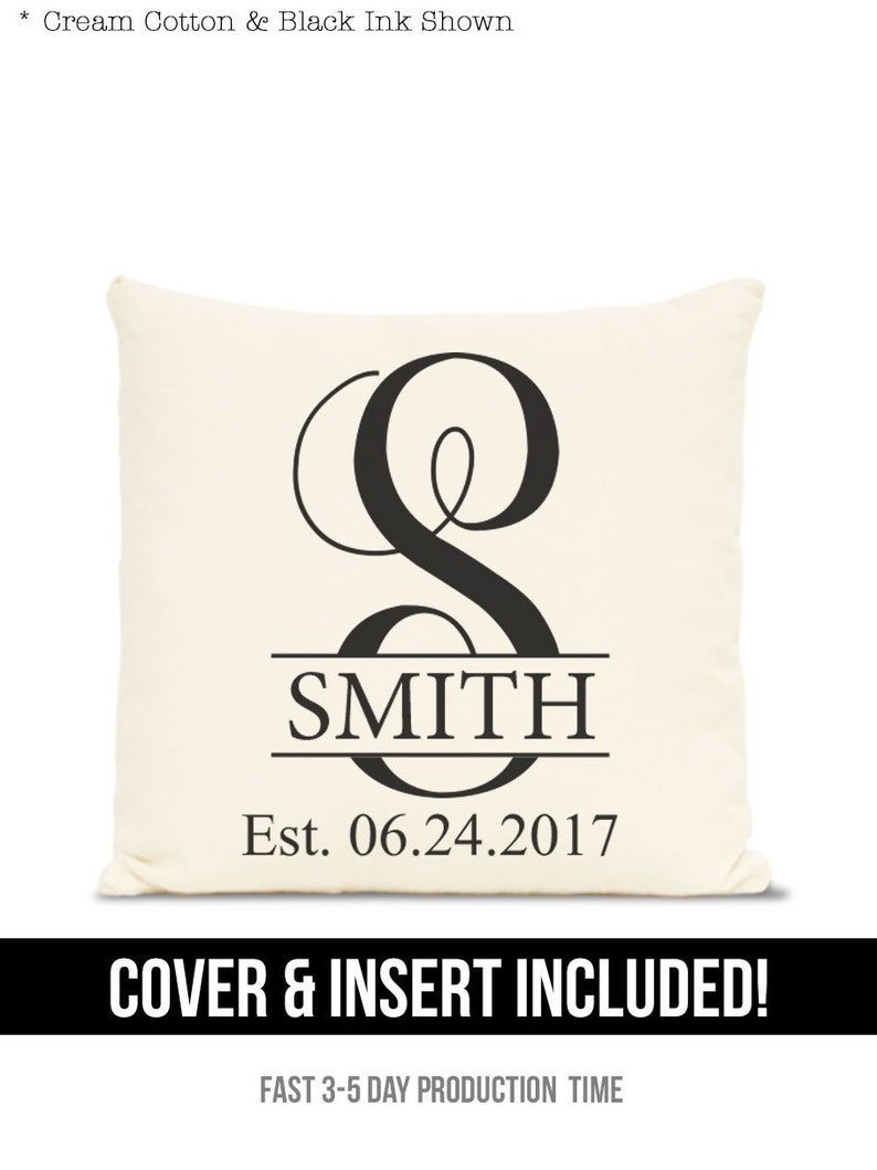 monogrammed pillow  personalized wedding gift Est Date image 0