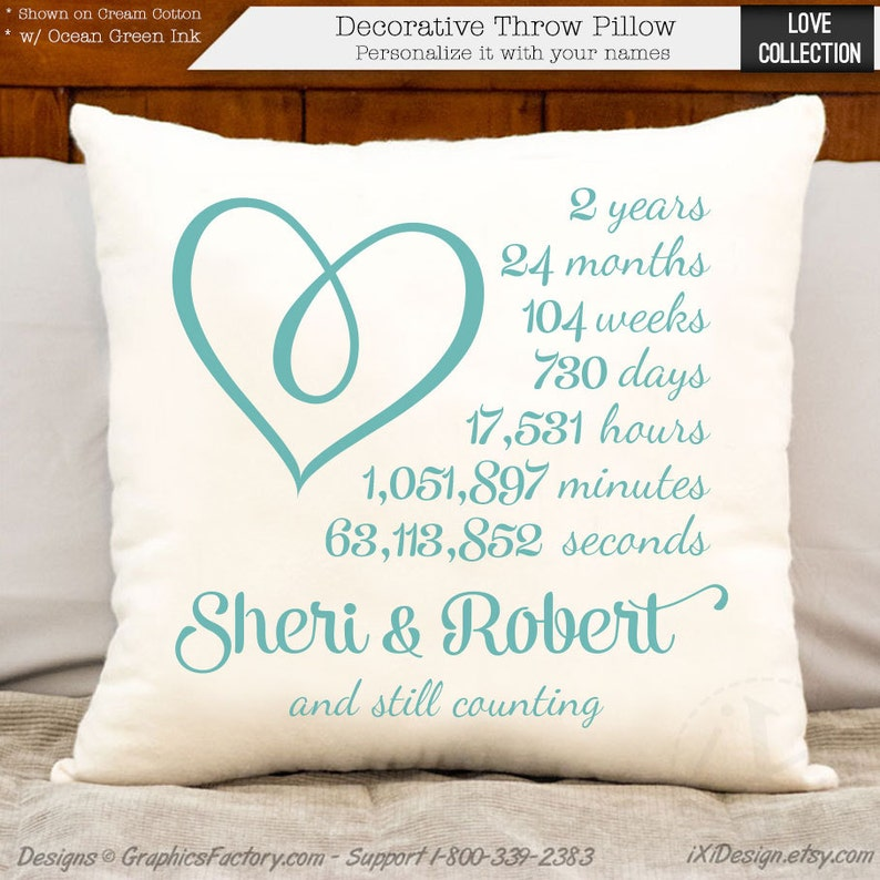 2nd anniversary cotton gift  personalized heart anniversary image 0