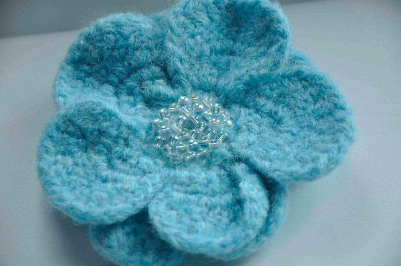 85ed9fa62 Light Aqua Flower Pin with pearlescent glass beads wool felted crochet  handmade for coat, hat, or tote--4.25 in.