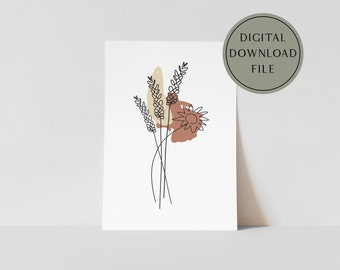 Wheat Fall Wildflowers Abstract Line Art Modern Boho Fall Autumn Poster Printable Digital Download Wall Decor | wheat bundle sign, harvest