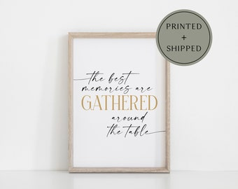 The Best Memories are Gathered Around the Table Modern Boho Fall Autumn Poster Print Wall Art | harvest sign, boho farmhouse fall decor