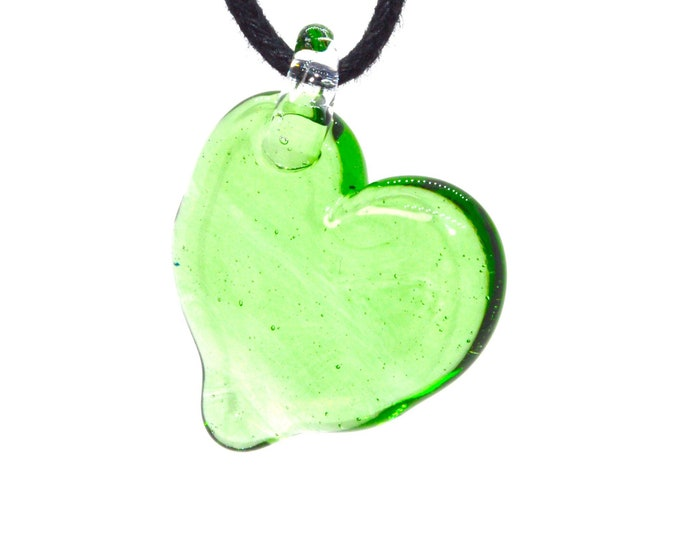 Heart Shaped Borosilicate Glass Pendant (Solid Color)