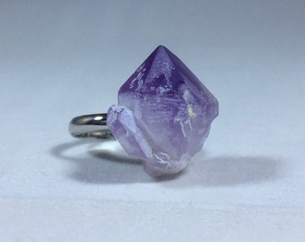 Amethyst Crystal Adjustable Ring
