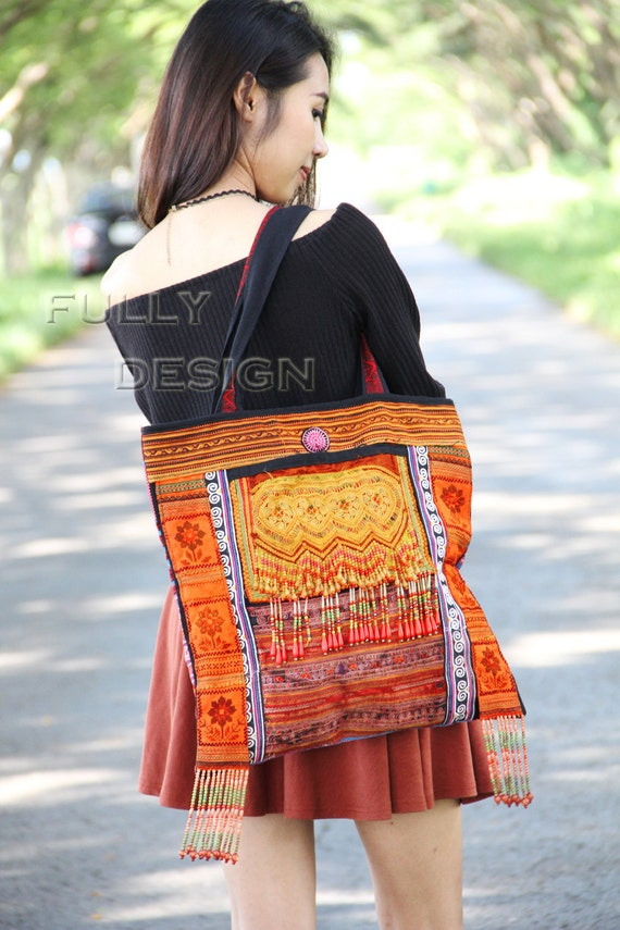 bag Medium size Decorated beads multi-colors duffel Bag embroidery.