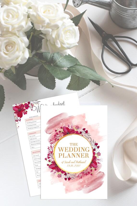wedding planner printable wedding planner book custom etsy