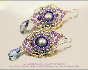 DIY Photo Tutorial eng-ITA *Lamar*earrings ,PDF Pattern 90 with Pearls,swarovski&seed beads,instructions,beadweaving