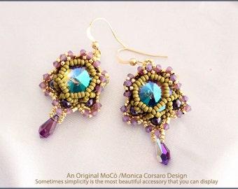 DIY Photo Tutorial Eng-ITA *Blossom*Earrings,PDF Pattern 96 with Rivoli,swarovski,Triangle,pearls,seed beads,instructions,beadweaving